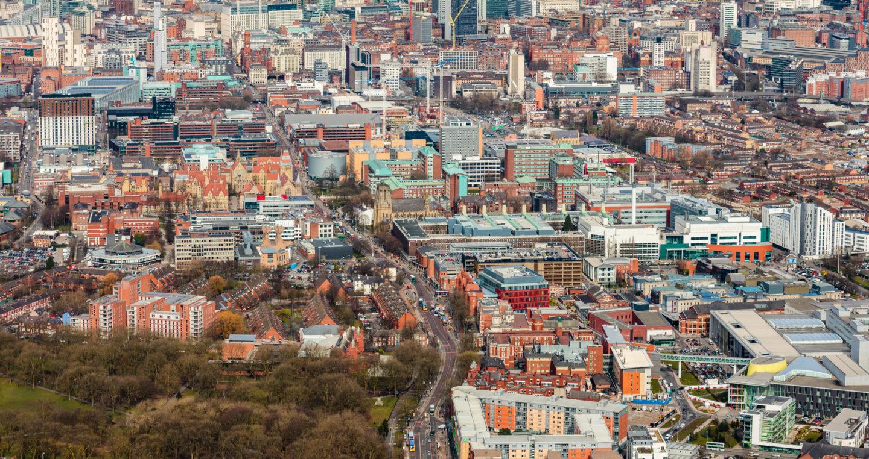 Aerial view of Oxford Road corridor