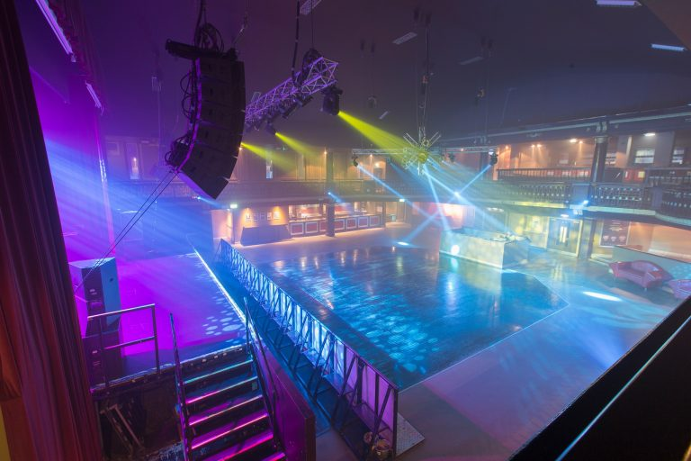 An image of an empty O2 Ritz Manchester with an impressive lighting