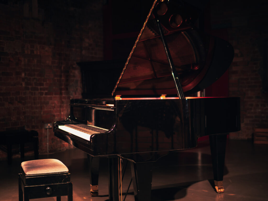 A photo of Burgess' piano at The International Anthony Burgess Foundation