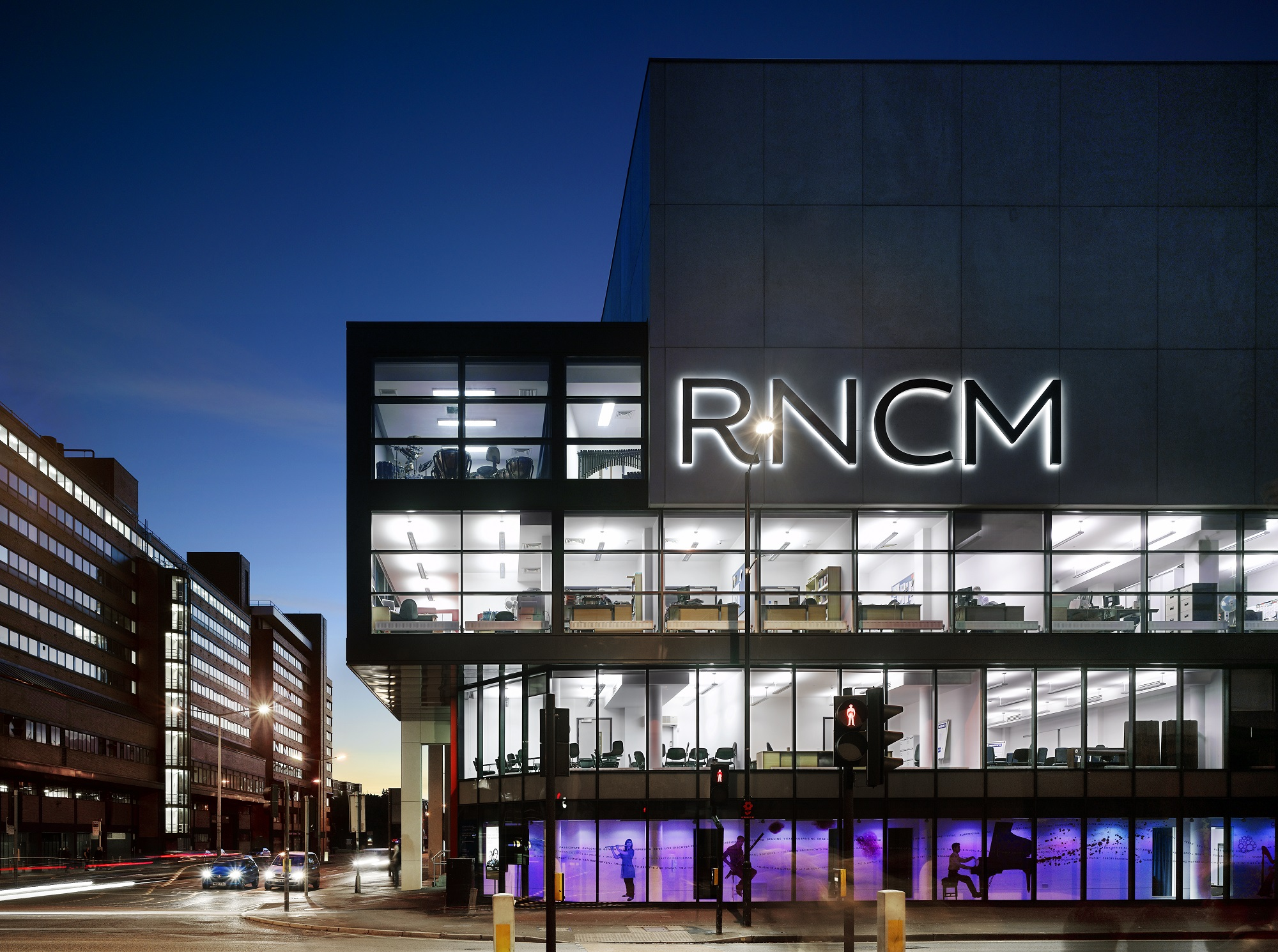 External night time shot of The Royal Northern College of Music