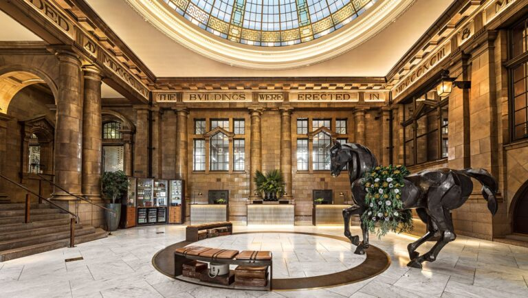 The lobby of Kimpton Clocktower Hotel in Manchester's Oxford Road Corridor