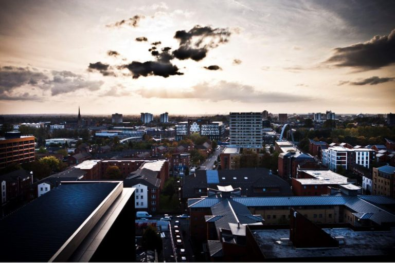 A moody skyline of the Manchester Metropolitan University campus