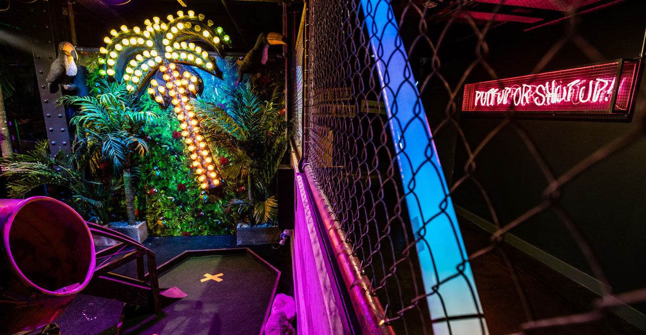 Brightly coloured decor of Junkyard Golf Club