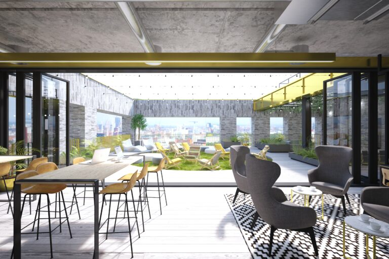A CGI impression of Base roof terrace event space 2