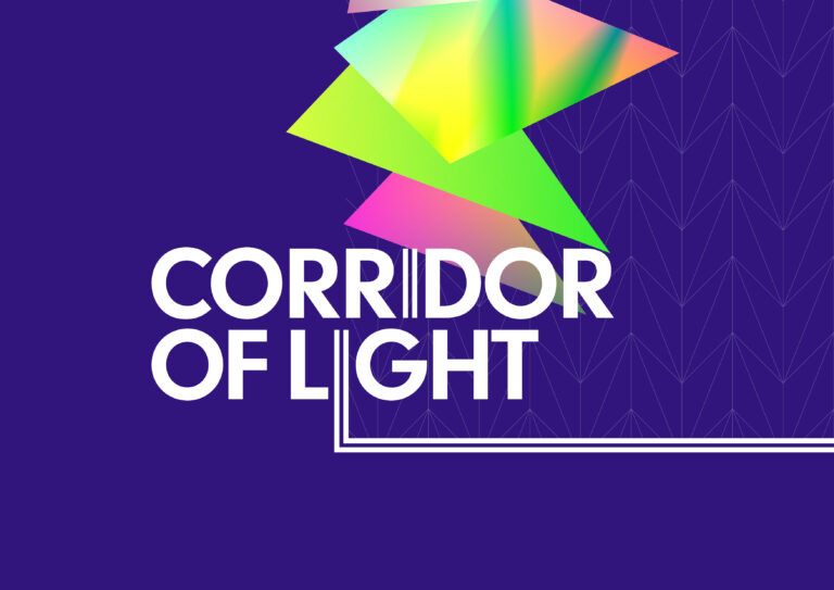 A logo for Corridor of Light with colourful triangle shapes in background
