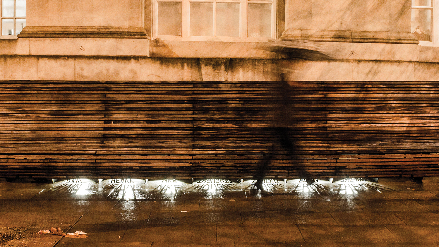 illuminated works project from benches in The Stories Under Our Feet