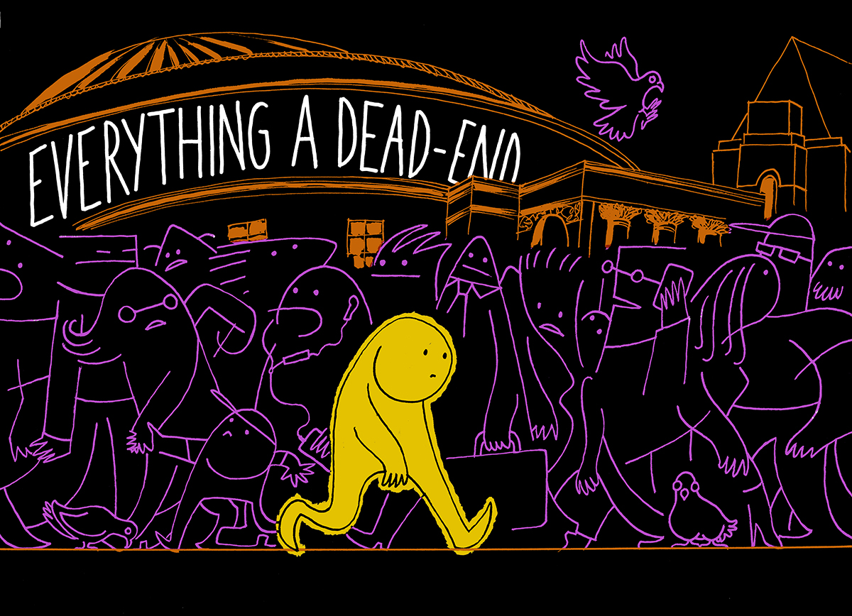 A comic character walking beneath the words 'EVERYTHING IS A DEAD-END' from The New Arrivals